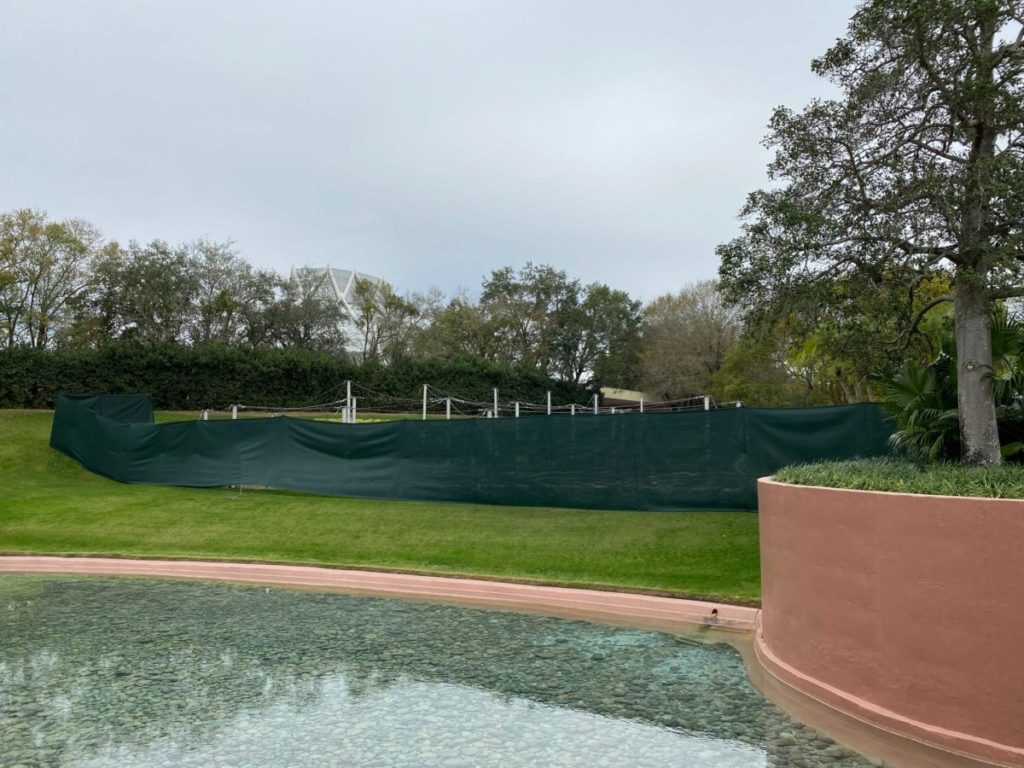 Scrims up at EPCOT for the butterfly garden