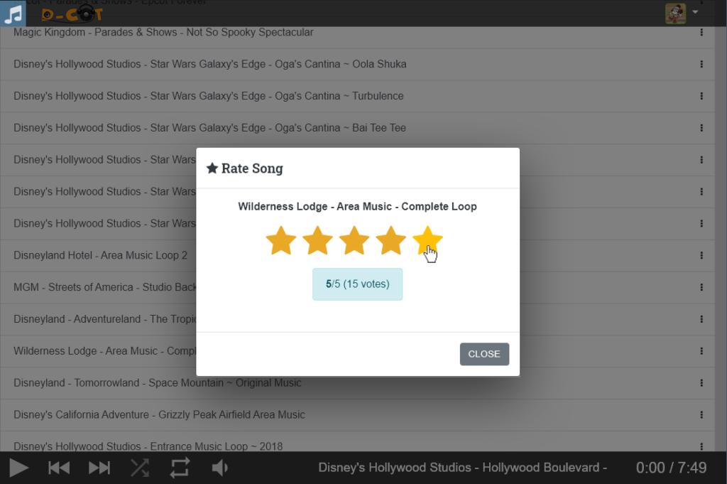 Rating songs in the jukebox app