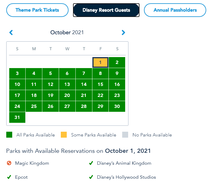 Sold Out for Disney Resort Guests