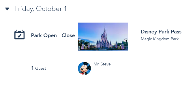 Confirmed park pass for Oct. 1, 2021